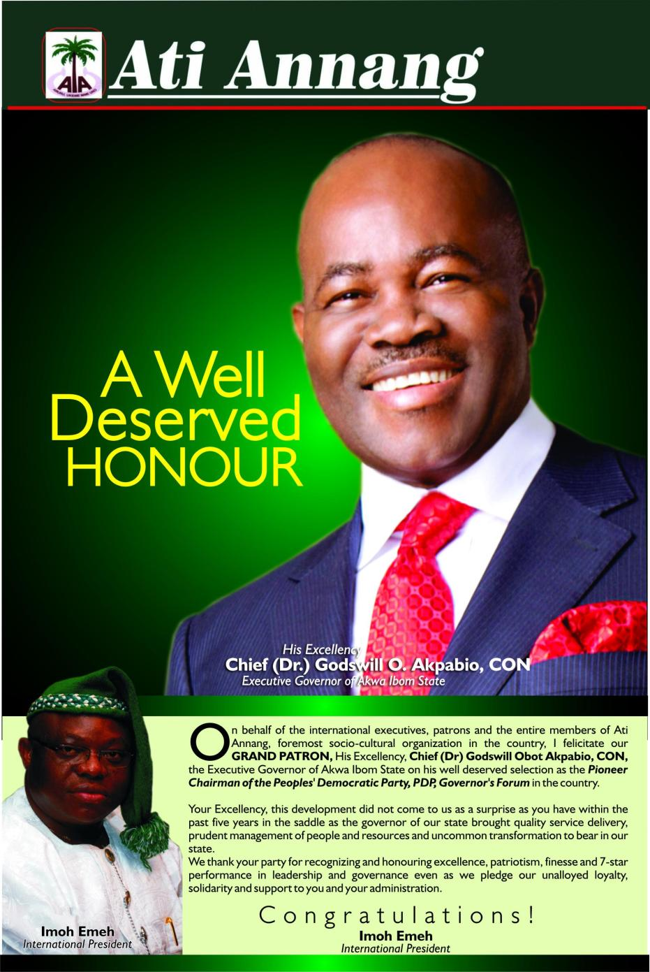 Ati annang goodwill message the ibom pulpit