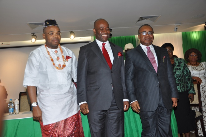 Gov. Godswill Akpabio (m) with fmr SSG, Obong Umana Okon Umana and the newly sworn-in SSG, Mr. Udom Gabriel Emnmanuel