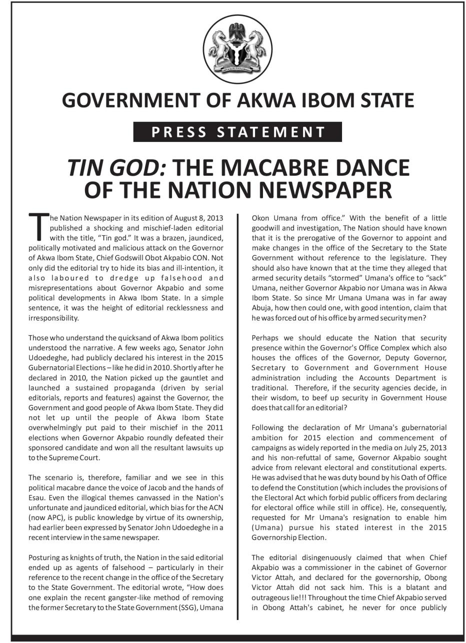 Tin God - The Macabre Dance of the Nation Newspaper page 1
