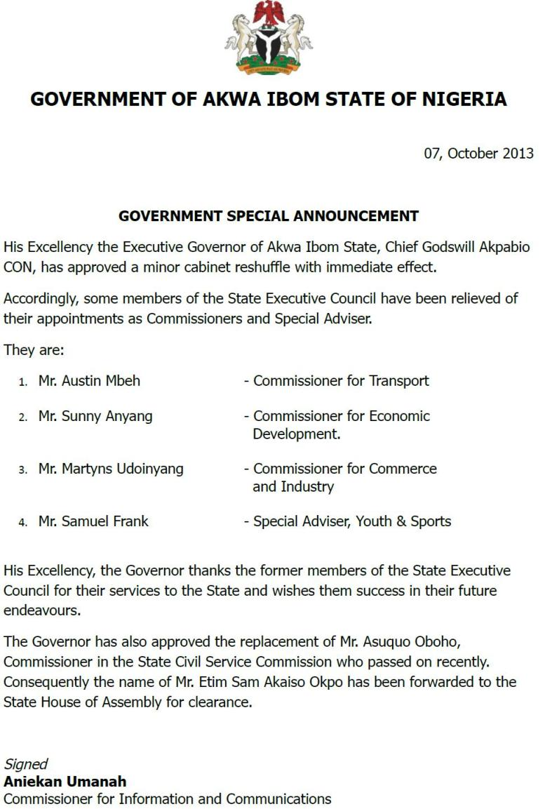 Govt Special Announcement